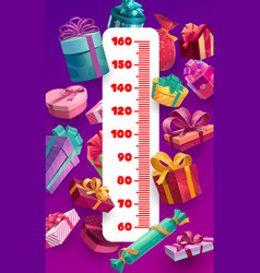 Christmas and birthday gifts kids height chart vector