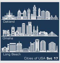 cities usa - oakland long beach omaha vector image