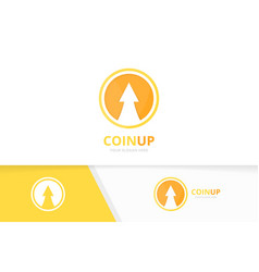 coin and arrow up logo combination money vector image