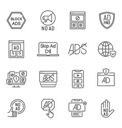 Collection lineart monochrome no ads icons vector