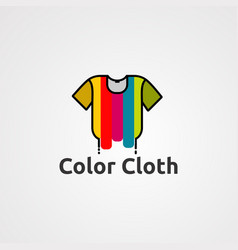 color cloth logo with paint effect template for vector image