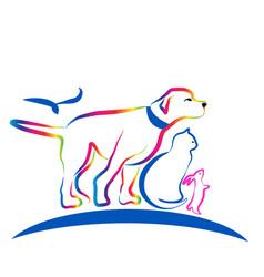 colorful pets dog cat rabbit line art vector image