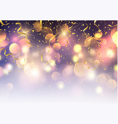 confetti and streamers on bokeh lights background vector image