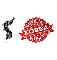 Crowd composition of mosaic map of korea and vector