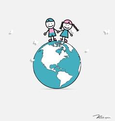 Cute children on globe vector image