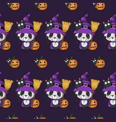 cute halloween cartoon panda with pumpkin vector image