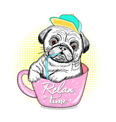 cute pug relax time vector image