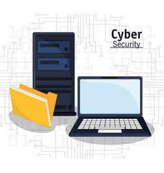 cyber security technology file folder vector image