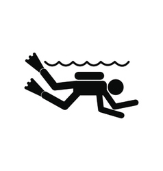 Diving black simple icon vector image
