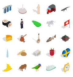 Eastern europe icons set isometric style vector