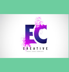 ec e c purple letter logo design with liquid vector image