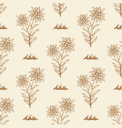 edelweiss flower alpine icon seamless background vector image