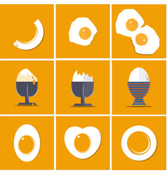 egg collection flat set isolated on yellow vector image