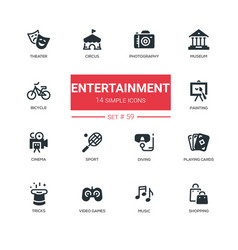 entertainment - line design icons set vector image