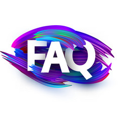Faq poster with colorful brush strokes vector