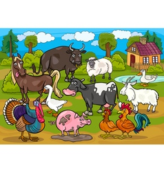 Farm animals country scene cartoon vector