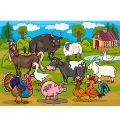 Farm animals country scene cartoon vector