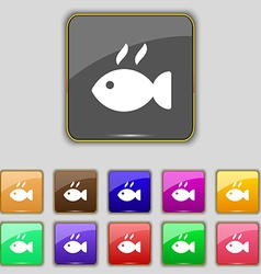 Fish dish icon sign set with eleven colored vector