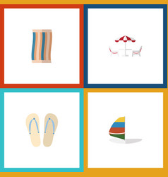 Flat icon season set of wiper surfing beach vector