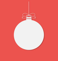 flat white christmas bauble with shadow isolated o vector image