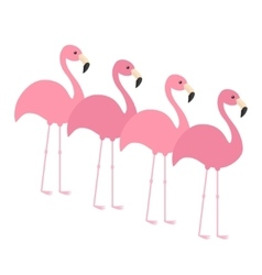 Four pink flamingo set Exotic tropical bird Zoo vector image