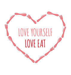 frame spoon fork and knife heart and text in vector image