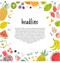 fruit decorative frame in flat hand drawn style vector image