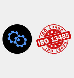 gears icon and distress iso 13485 seal vector image