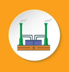 geothermal power plant icon in flat style on round vector image