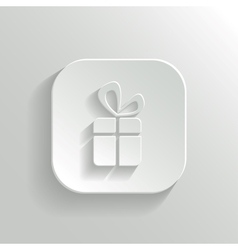 Gift icon - white app button vector image