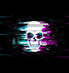 Glitch skull distorted neon glow cranium vector