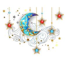 Golden crescent moon vector