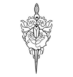 graphic flower pierced by the knife vector image