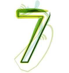 Green number 7 vector image