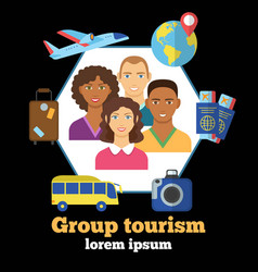 Group tourism colorful poster vector