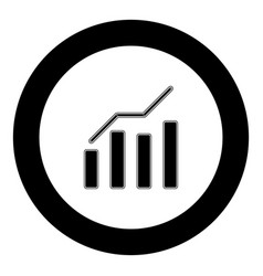 growth chart icon black color in circle vector image