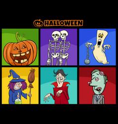 halloween holiday cartoon funny characters set vector image