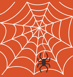 halloween party poster with spider on spiderweb vector image