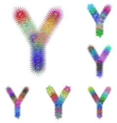 Happy colorful fractal font set - letter Y vector