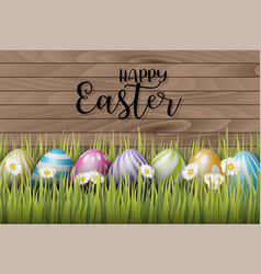 happy easter background with painted 3d realistic vector image