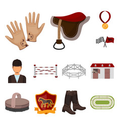 hippodrome and horse cartoon icons in set vector image