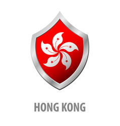 Hong kong flag on metal shiny shield vector