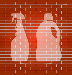 Household chemical bottles sign whitish vector
