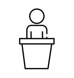 Human figure avatar in speech podium line style vector