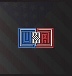 inscription usa monogram national american flag vector image
