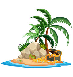 Island isolated with treasure vector