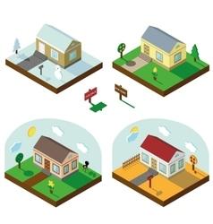 Isometric house set3D VillageSeasonal Landscapes vector