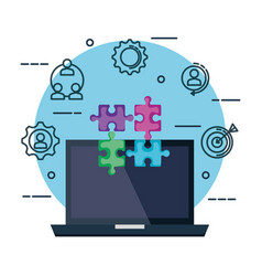 laptop with puzzle pieces and business set icons vector image