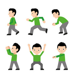 Man walk run jump action character cartoon vector