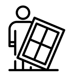 Man window installation icon outline style vector